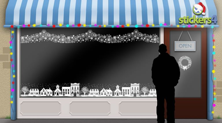 Christmas street scene window sticker for your christmas window christmas scenes and borders shop window stickers christmas window stickers s