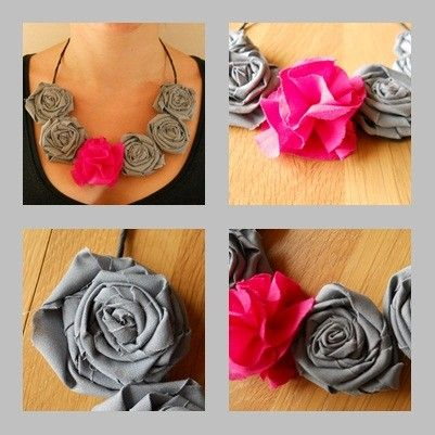 necklace, flowers, tissus