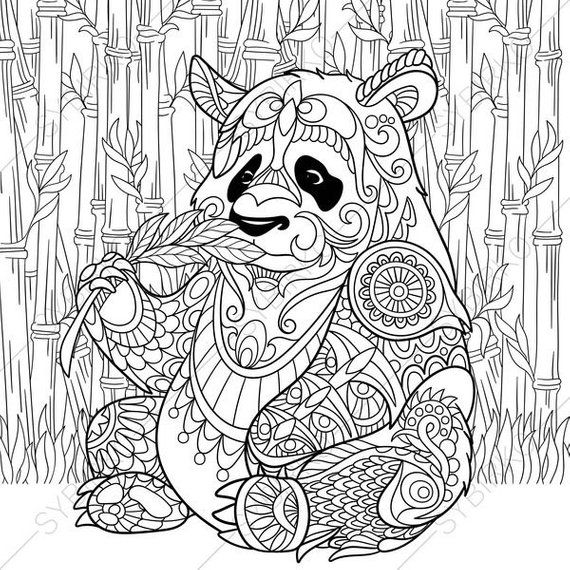 Coloring Pages For Adults Digital Coloring Page Panda Bear Etsy Bear Coloring Pages Panda Coloring Pages Animal Coloring Pages