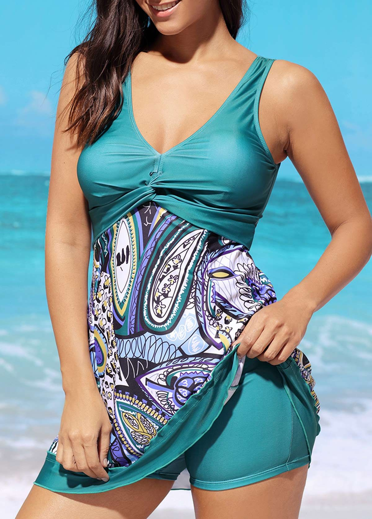 Padded open back printed swimdress and shorts on sale only