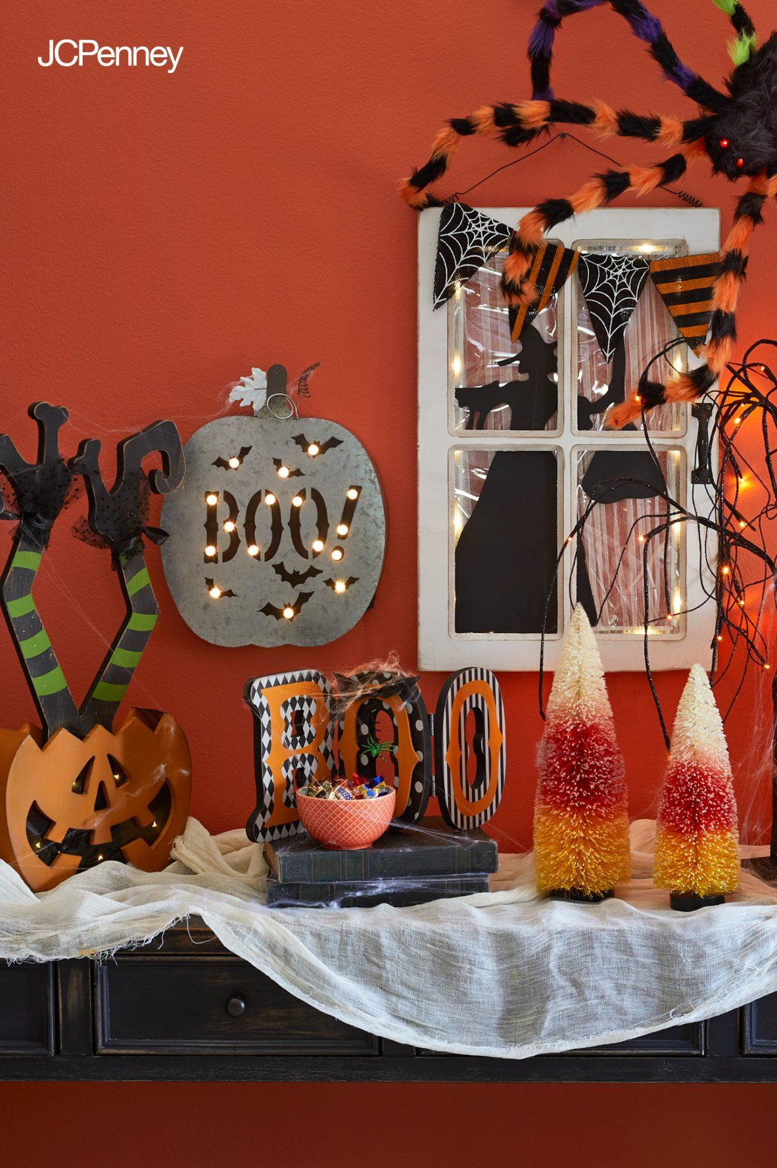 Make Your Halloween Party Spook Tacular With Colorful Decorations From Jcpenney Pumpkins Witches Signs