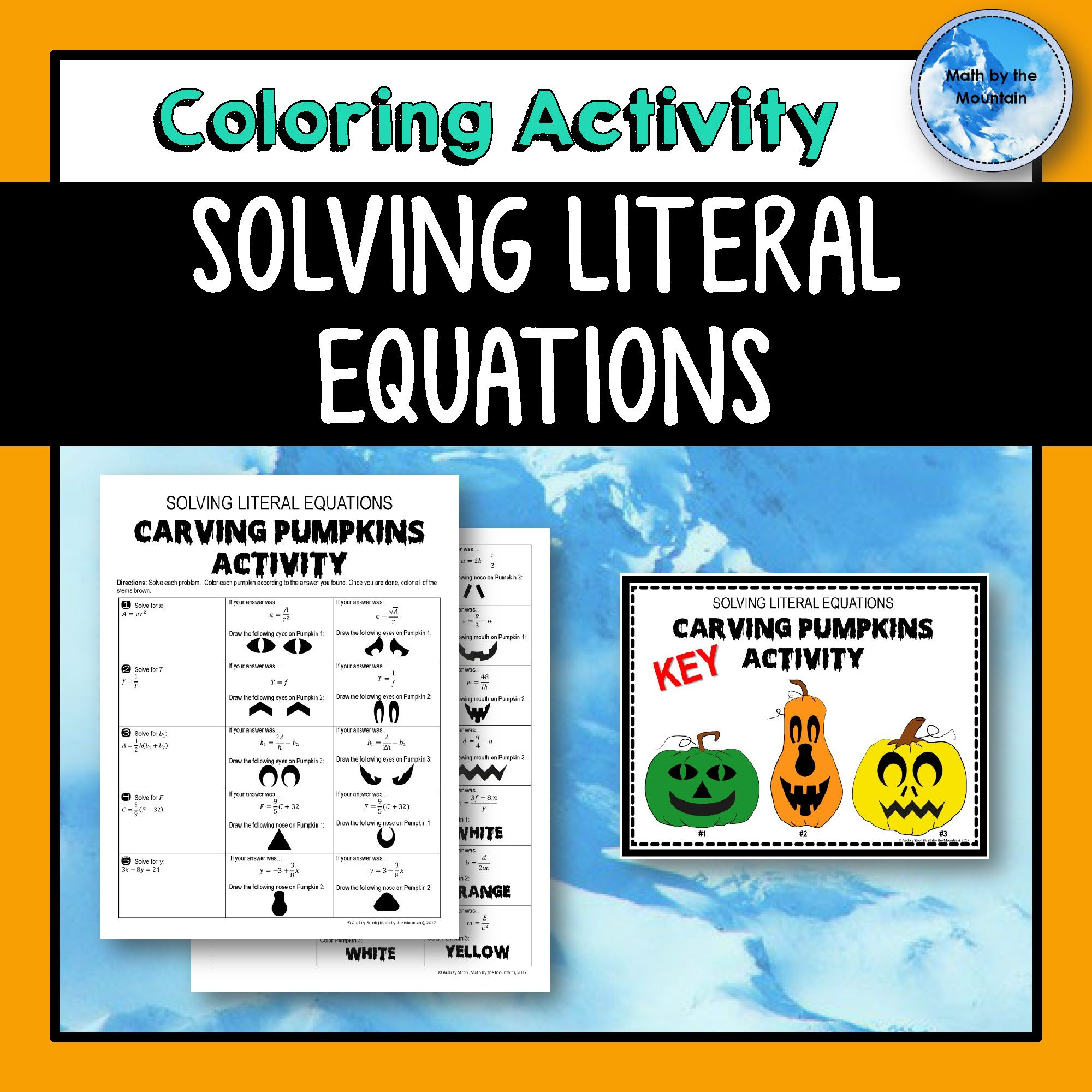 Literal Equations Carving Pumpkins Coloring Activity My Electromagnetic Relay Equation Solving Algebra1 Literalequations