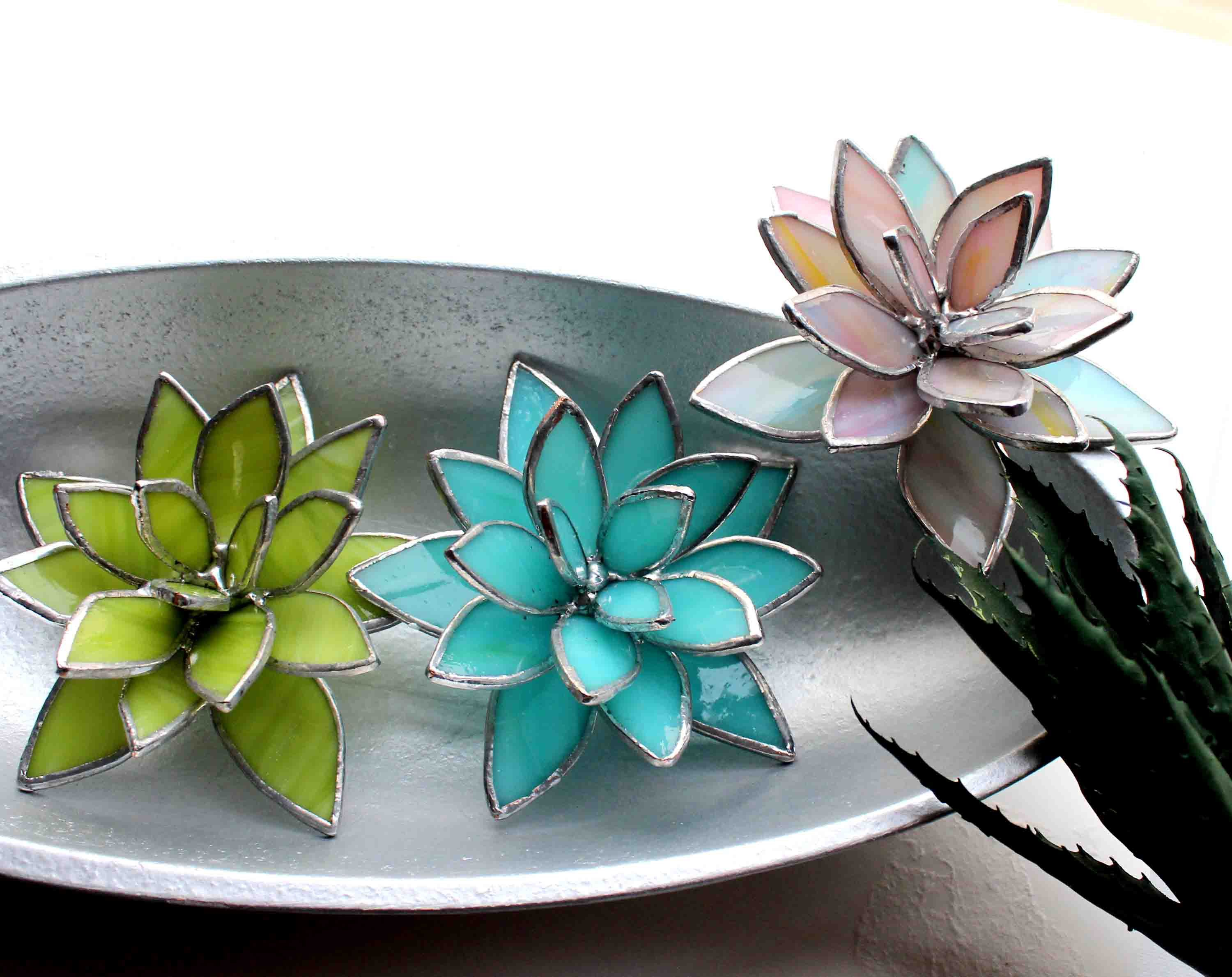 Photo of Spring Collection Stained Glass Succulents, Valentines Gifts for Her, Trending Succulents, Tabletop Decor, Home Accents, Wedding Table Decor