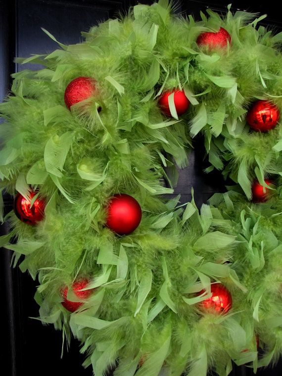 Lime Green Feather Wreath with Red Ornaments- try this with a feather boa...