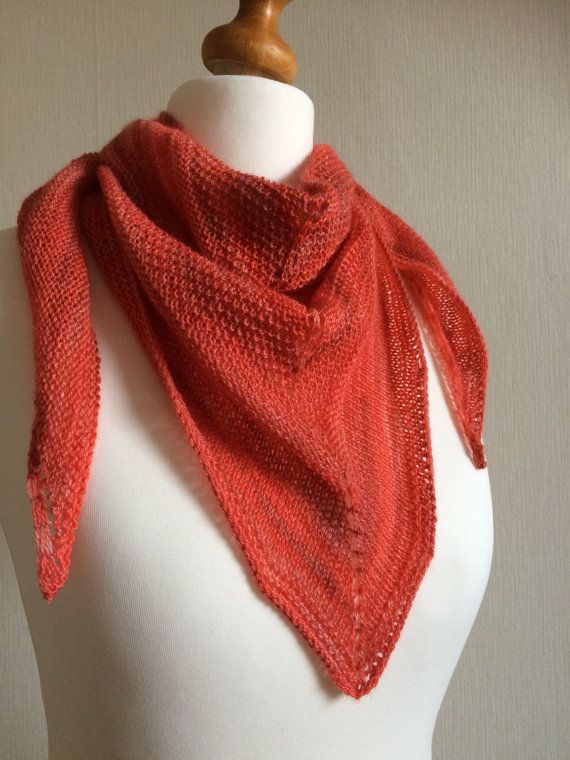 Hand Knitted Merino and Silk Shawl Scarf by YarnOverNeedles