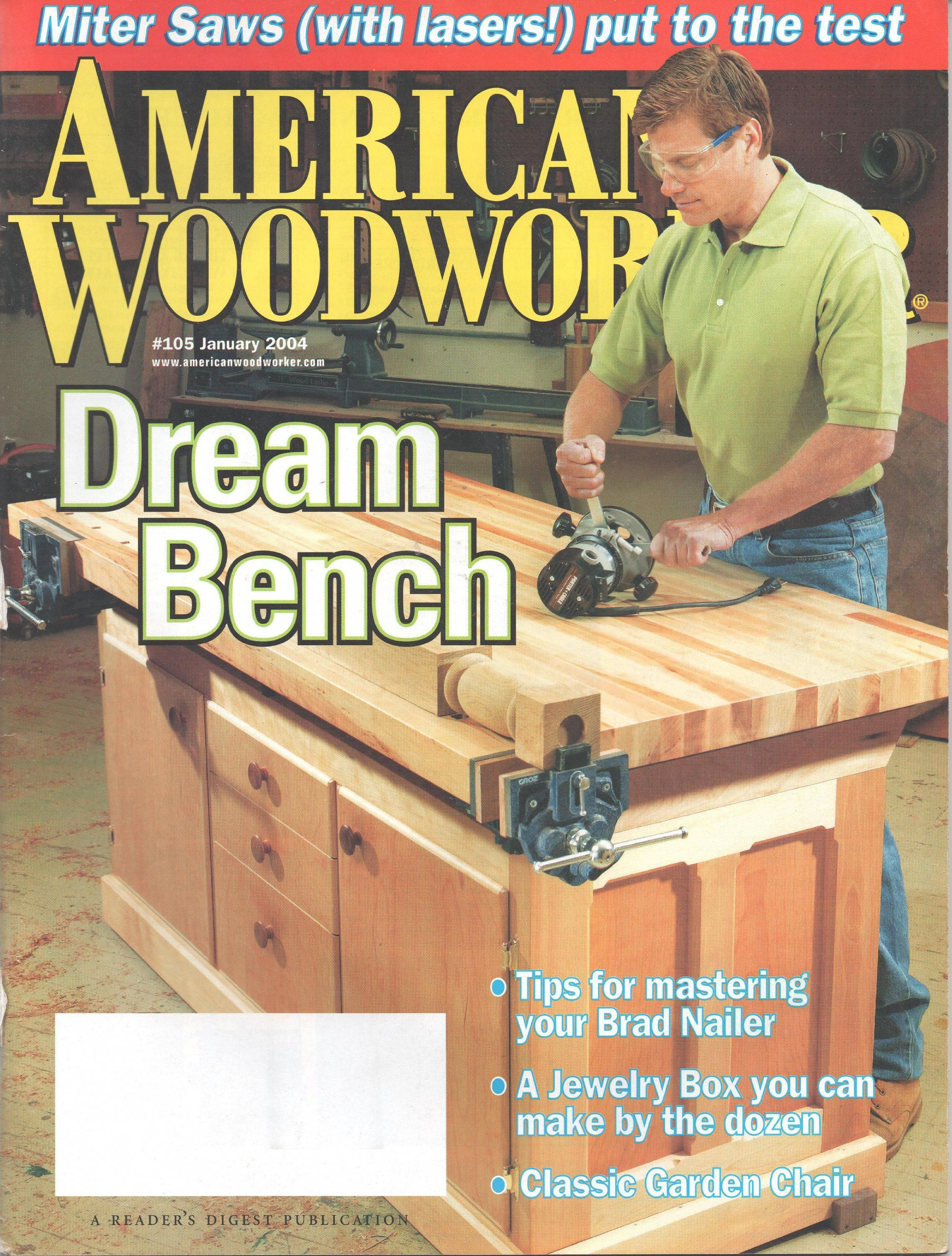American Woodworker Magazine, January, July, October 2004, Belt Disc Sanders, Perfect Miters, Desktop Clock, Japanese Saw, Hall Table, Ipe