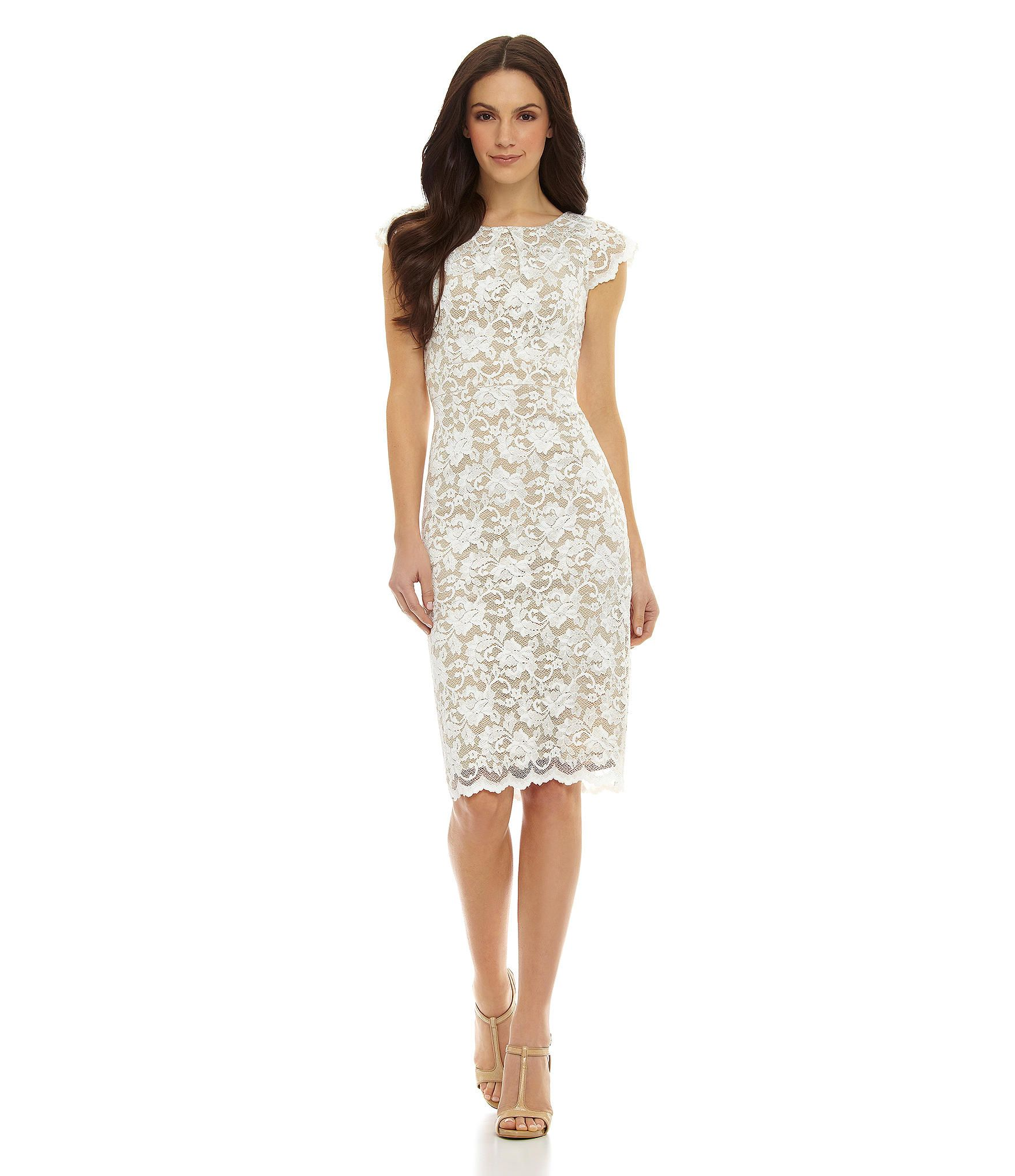 ABS by Allen Schwartz Cap-Sleeve Lace Sheath Midi Dress | Dillards ...