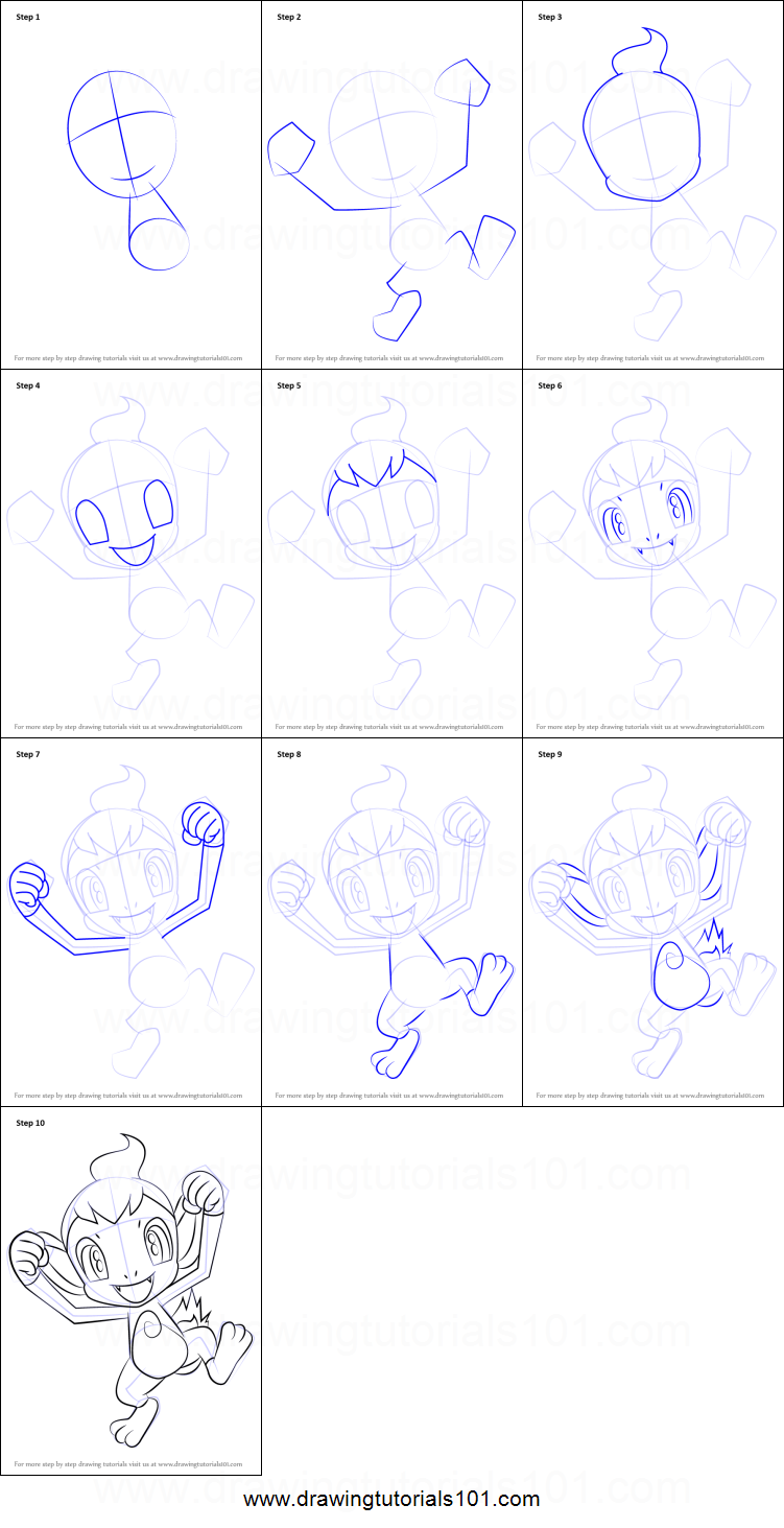 How to Draw Chimchar from Pokemon Printable Drawing Sheet by DrawingTutorials101.com