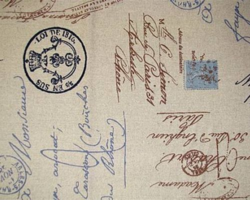 Postale Indigo Linen French Script Writing Upholstery