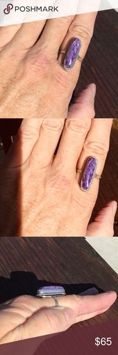 Ring Chariote Stone 925SS Size 85 Silversmith Beautiful purple chariote semi precious stone set in 925 Sterling Silver Ring Size 85 unique one of a 925ss