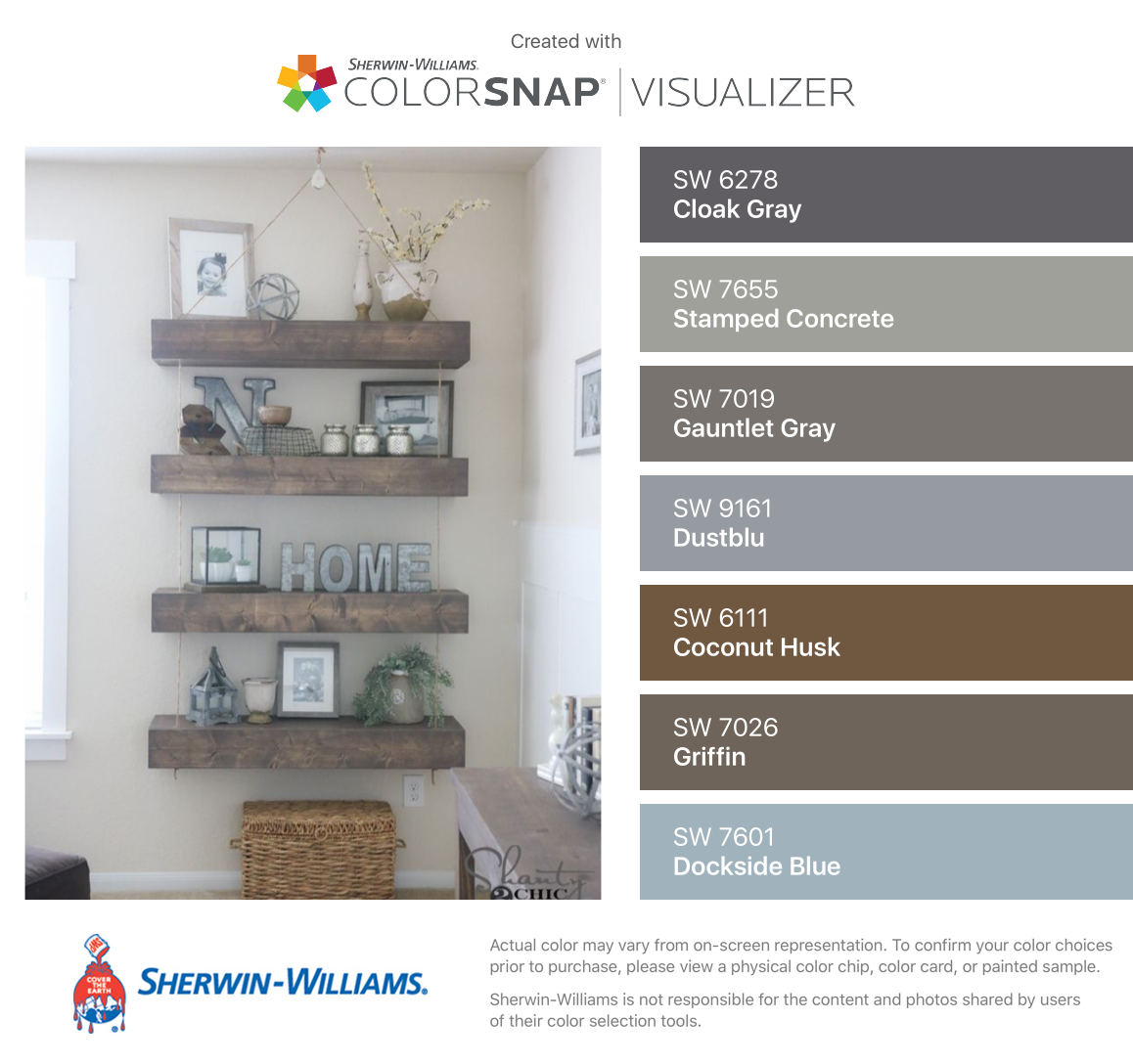 I found these colors with colorsnap visualizer for iphone by sherwin williams cloak gray sw for Sherwin williams exterior paint color visualizer