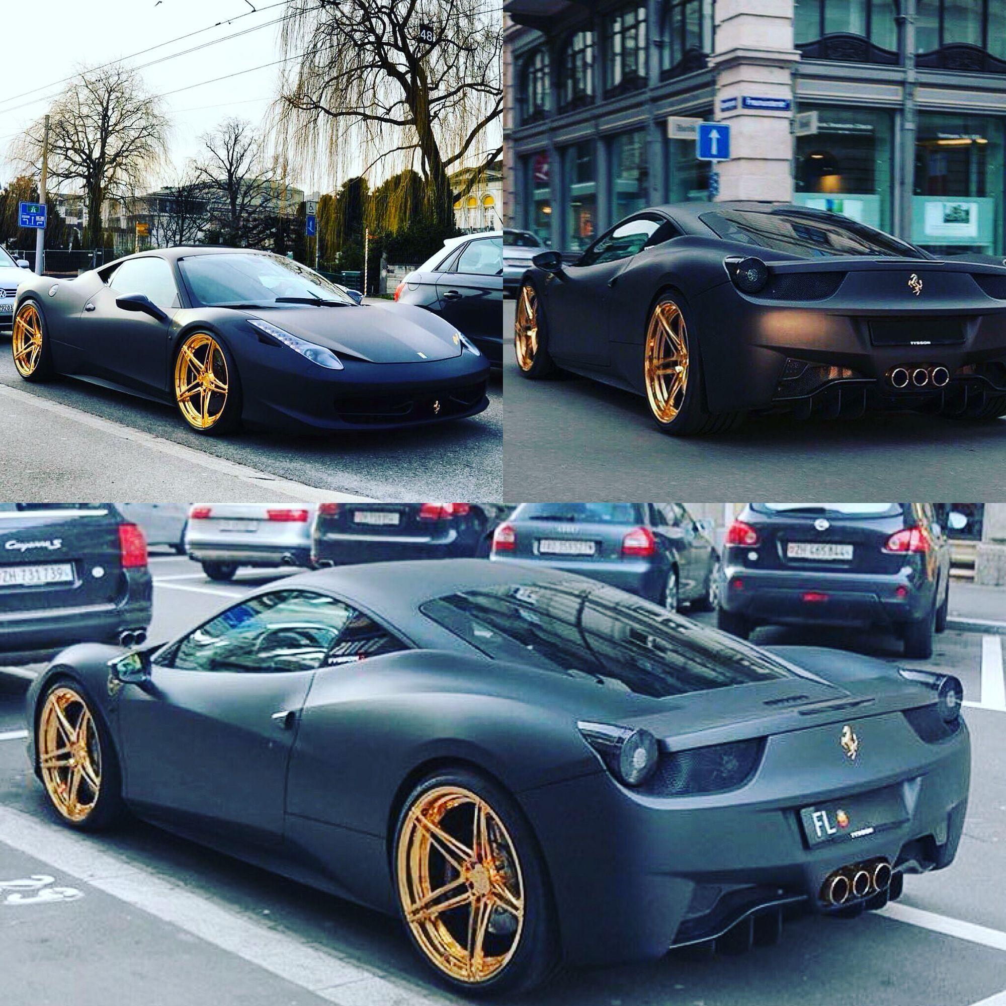 matte black and gold ferrari 458 italia - Black Ferrari 458 Italia