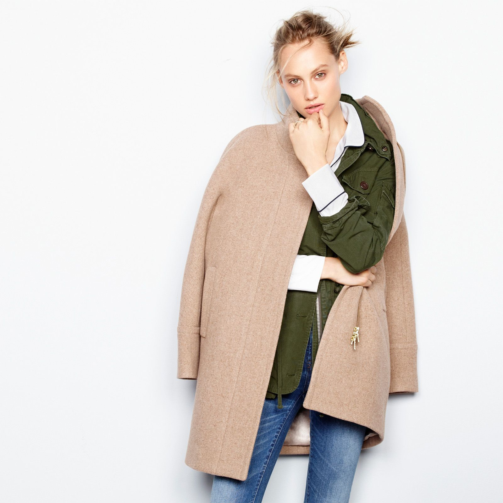 J Loved The Field On The Wall Look ȁ�: J.Crew Looks We Love: Women's Stadium-cloth Cocoon Coat