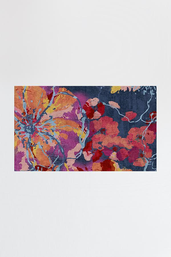 Watercolor Floral Navy Rug Navy Rug Washable Area Rugs Machine