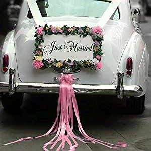 Amazon Com Wooden Just Married Wedding Car Decoration Sign