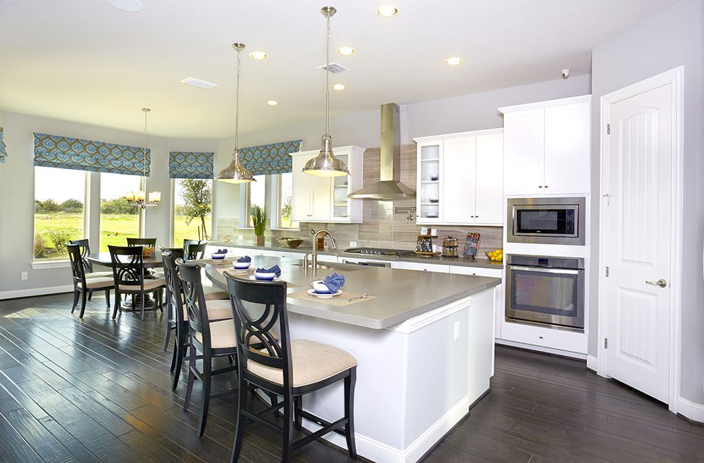 Bon Gehan Homes Kitchen   Dark Wood Floor, Stainless STeel Appliances, Grey Granite  Countertops, Kitchen Windows, Backsplash   San Antonio, Texas | Afton Oaks  ...