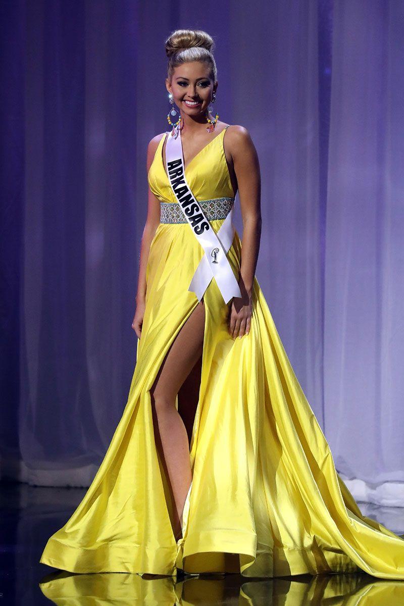 Arkansas Makenzie Sexton yellow satin pageant dress Miss Teen USA ...
