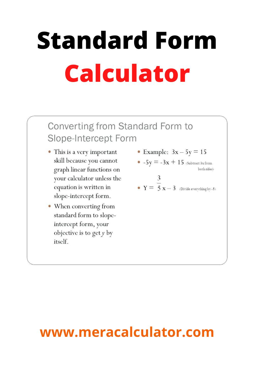 standard form calculator slope Standard Form Calculator in 2  Standard form, Math calculator