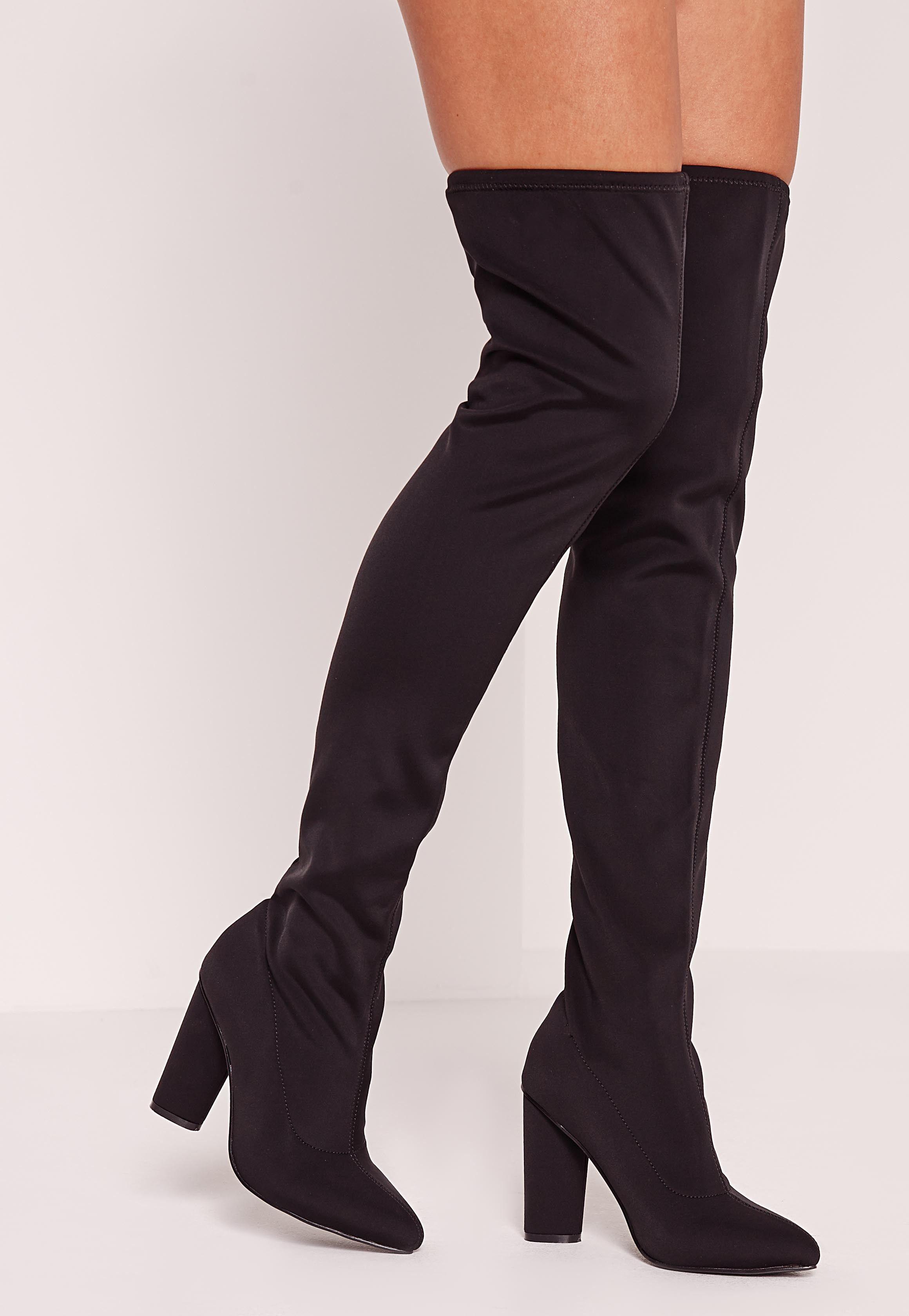 2017 Plus Cuissardes Talon place Bottes Femmes Sexy Ladies Lace Étirements Bottes en tissu Mode Noir Taille,noir,37