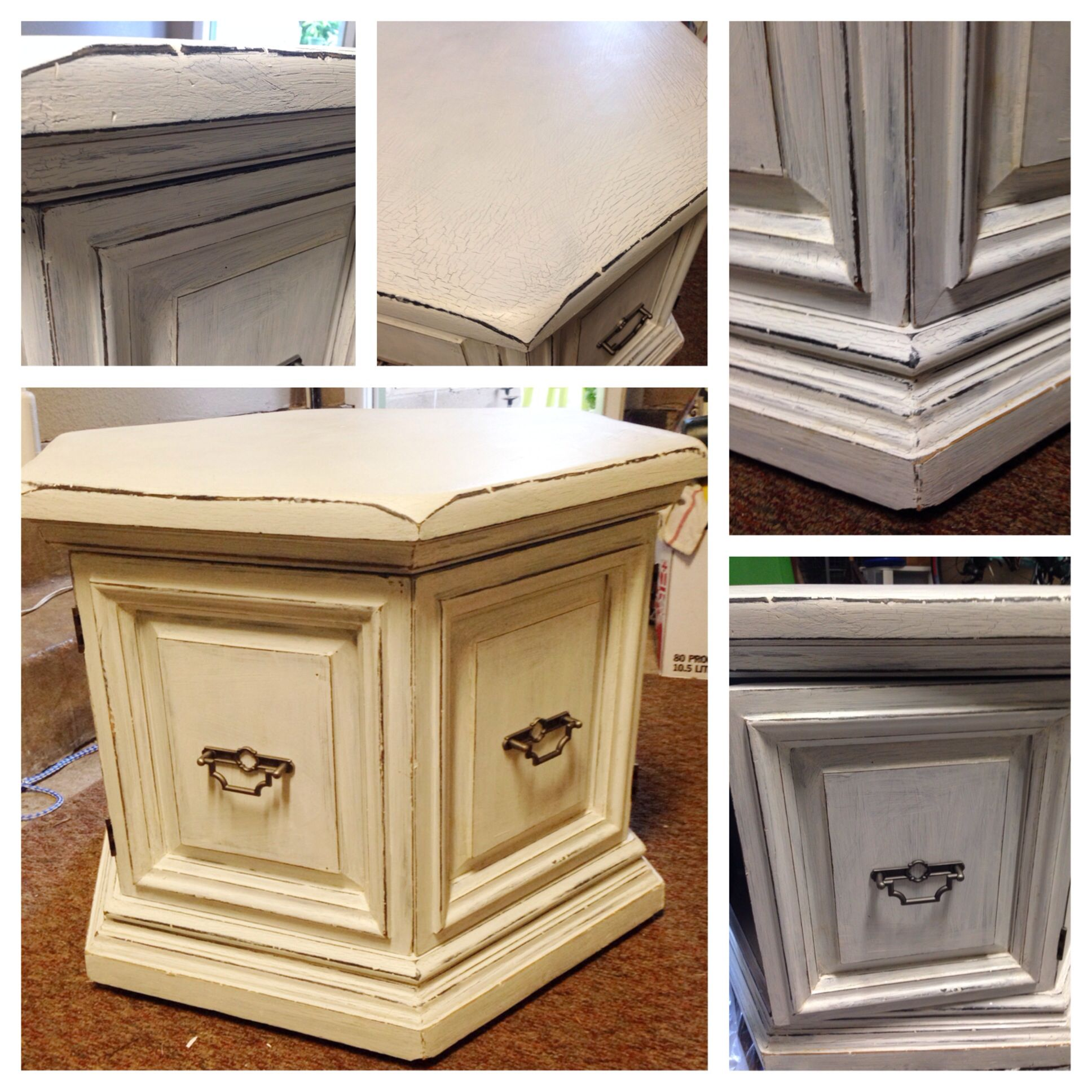 Chalk Paint Distressed Octagon Side Table DIY