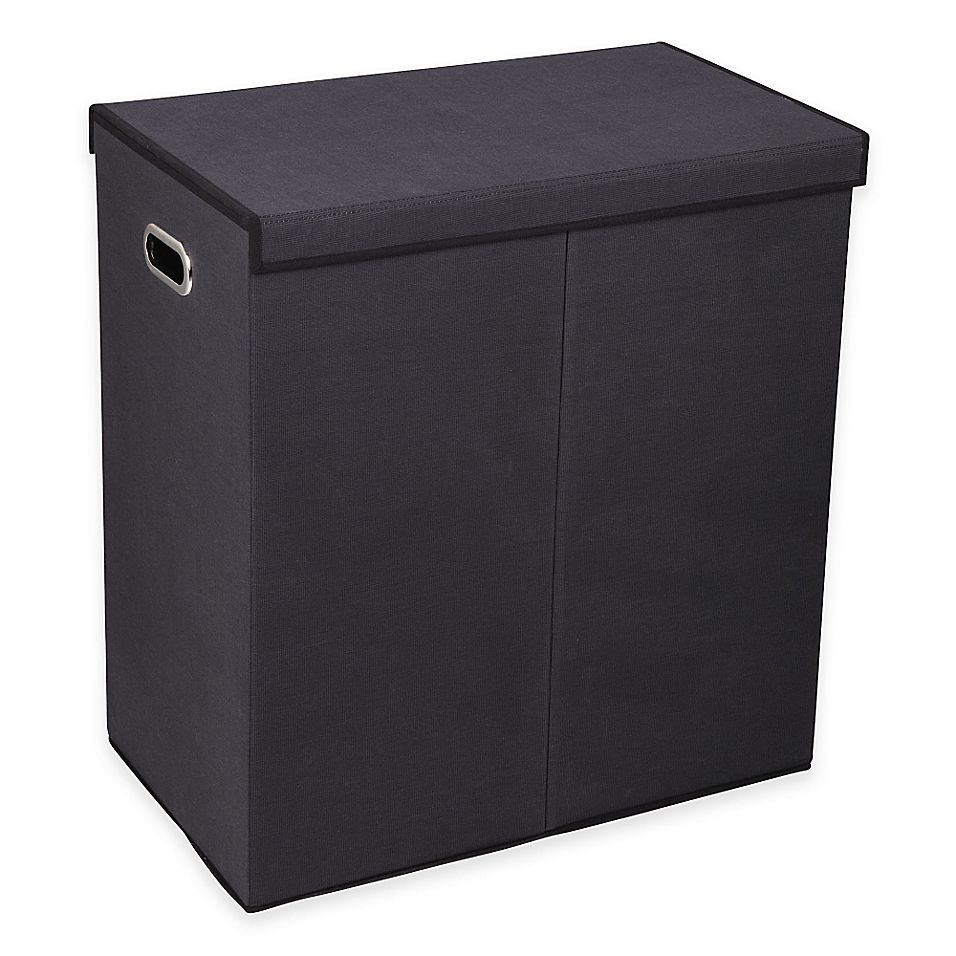 Household Essentials Collapsible 2 Compartment Laundry Hamper In