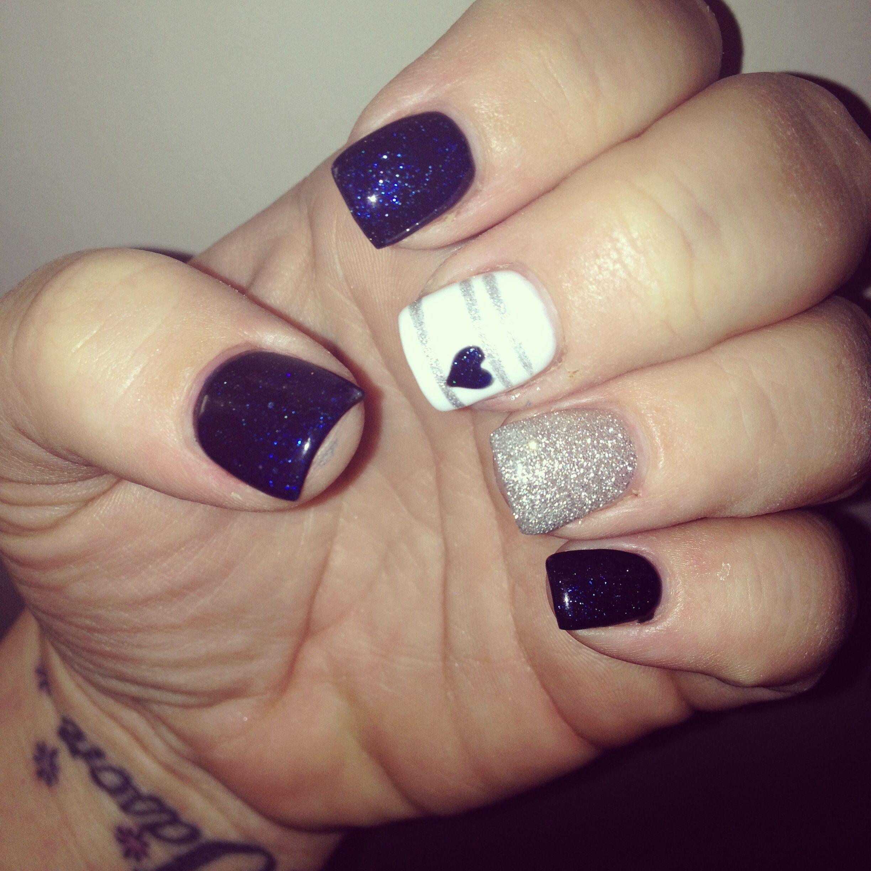 nail art # dark blue # glitter | Nails | Pinterest | Blue glitter ...