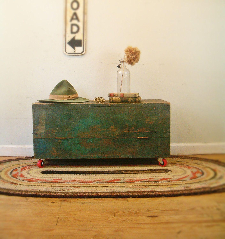Circa 1930 industrial coffee table repurposed carpenters tool box