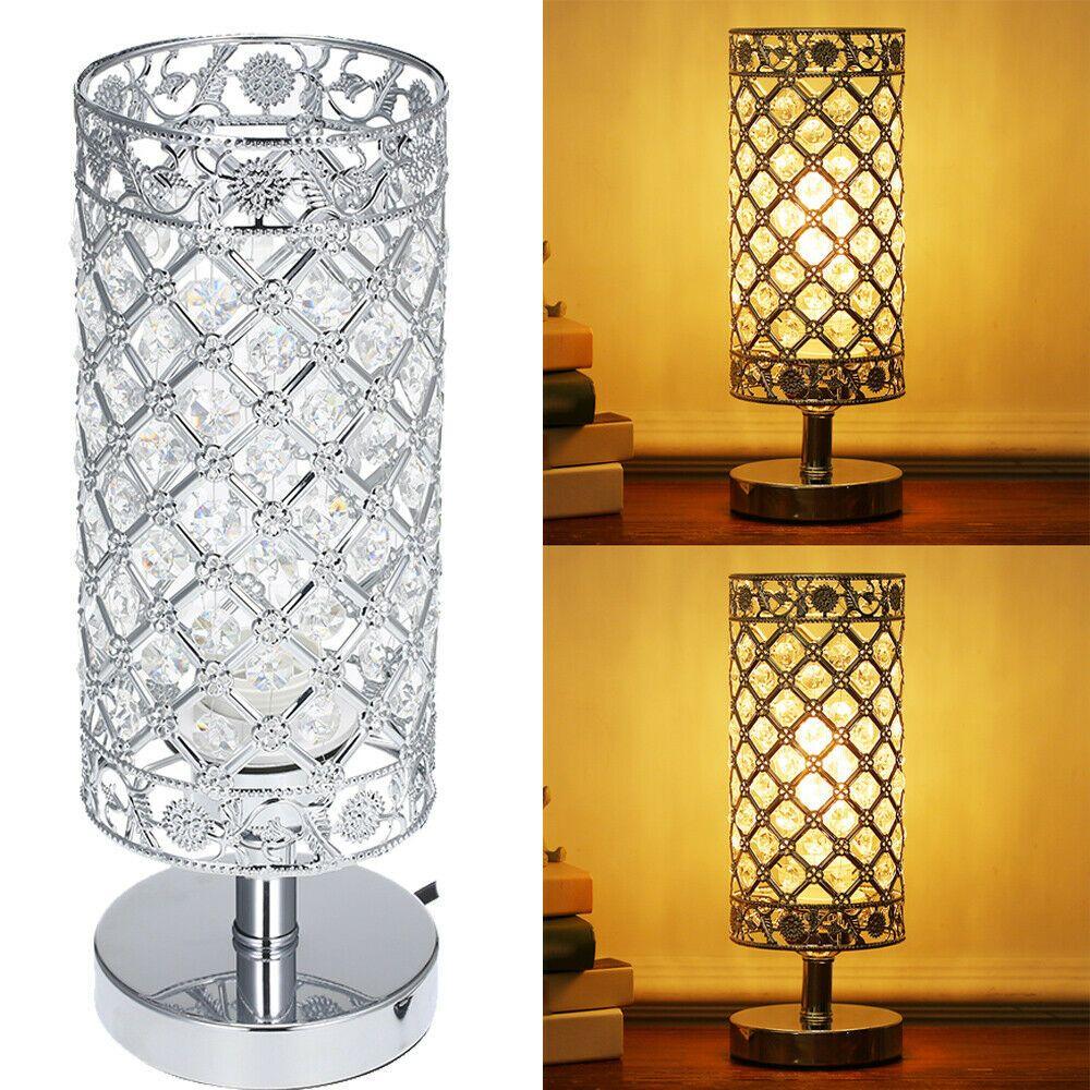 Tomshine Crystal Table Lamp Cylinder Bedside Desk Reading