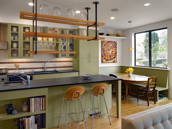 Exceptionnel Hanging Kitchen Shelves | Eclectic Kitchen, Hanging Shelves, Green Facades,  Oval Table