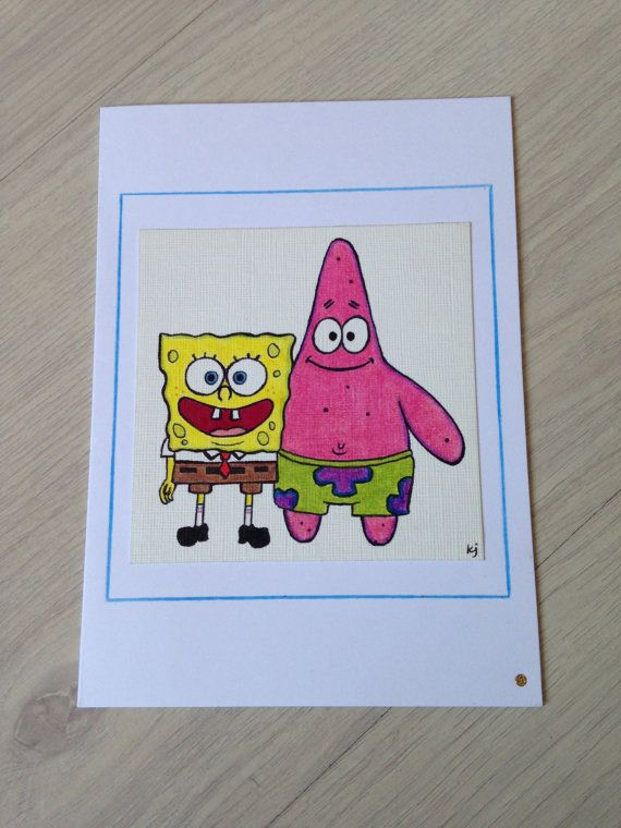 SpongeBob and Patrick hand made greetings card. by ParadiseFallls