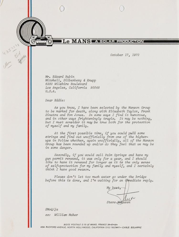 Letter From Steve Mcqueen To His Attorney Re Threat From Charles