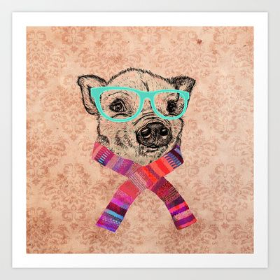 Funny Cute Pig Drawing Teal Geek Hipster Glasses Art Print by Girly Trend - $14.00