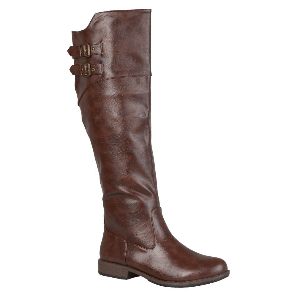 Women's Journee Collection Round Toe Buckle Detail Boots - Brown 9 Wide Calf