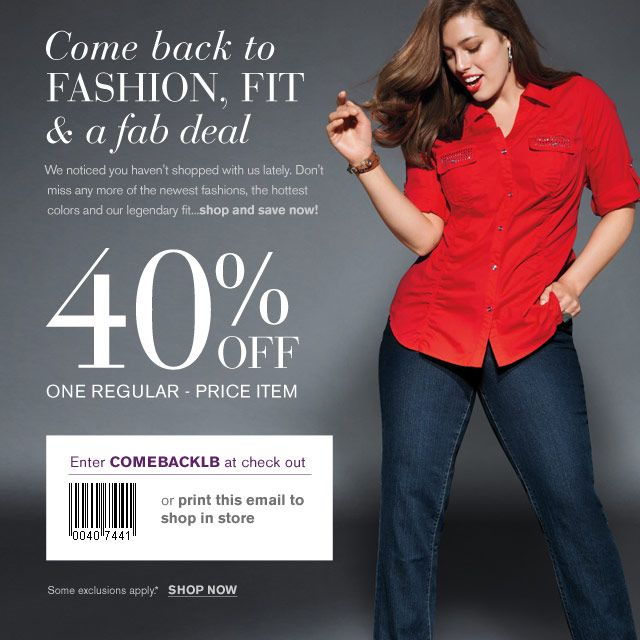 photo about Lane Bryant Printable Coupons titled Lane Bryant: 40% off Printable Coupon garments things inside of 2019