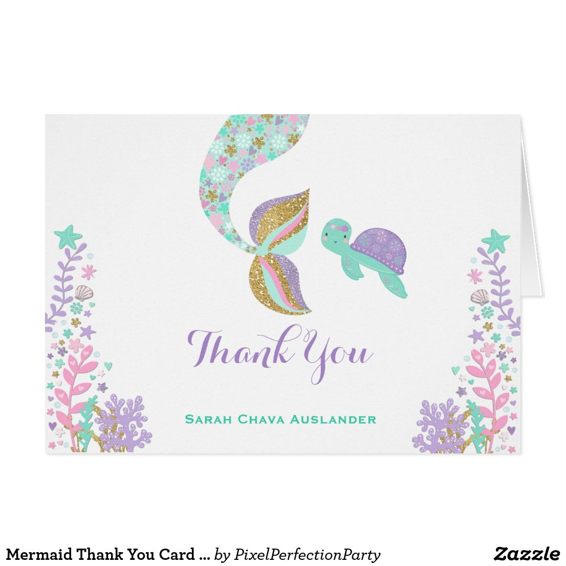 Mermaid thank you card under the sea thank you baby girl st