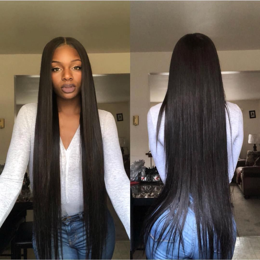 Super Long Silky Straight Bundles With Lace Closure Hair Sales Up To 40 Discount Wig Hairstyles Front Hair Styles Straight Hairstyles