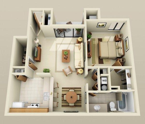 50 plans en 3d d appartement avec 1 chambres cr er sa. Black Bedroom Furniture Sets. Home Design Ideas