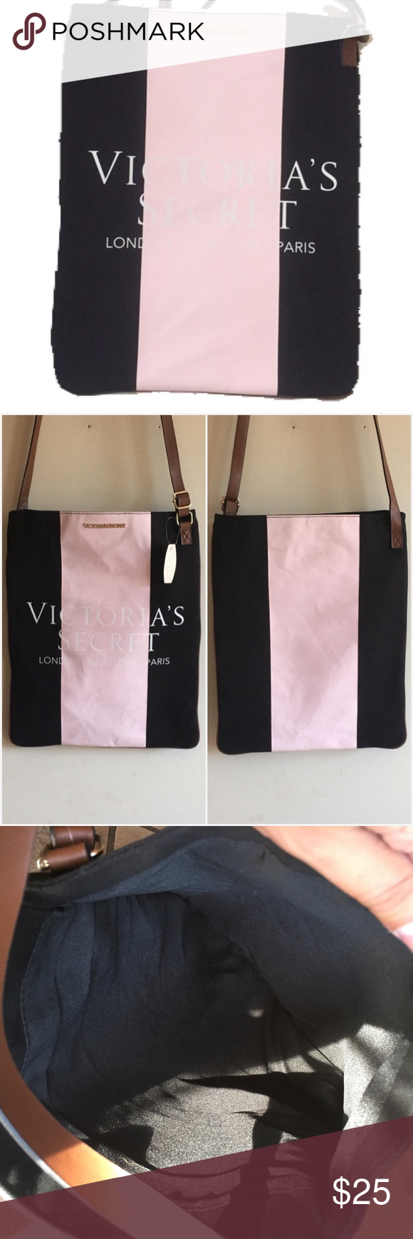 """NWT Victoria's Secret Crossbody Pink center stripe with Victorias Secret signature in white. Black end colorblock. Brown faux leather strap extra long and adjustable. Approximately 14.5"""" tall and 12"""" long. Some soil marks all on pink area of bag. Please see photos. NWT and never worn. No trades. Generous 30% bundle discount. Victoria's Secret Bags Crossbody Bags"""