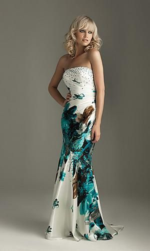 Long Strapless Print Formal Prom Dress by Night Moves