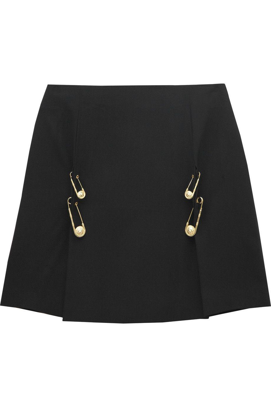 Versus | Safety pin-embellished crepe mini skirt