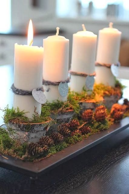 ADVENT. Candle centerpiece via Desde mi ventana. #adventkransen