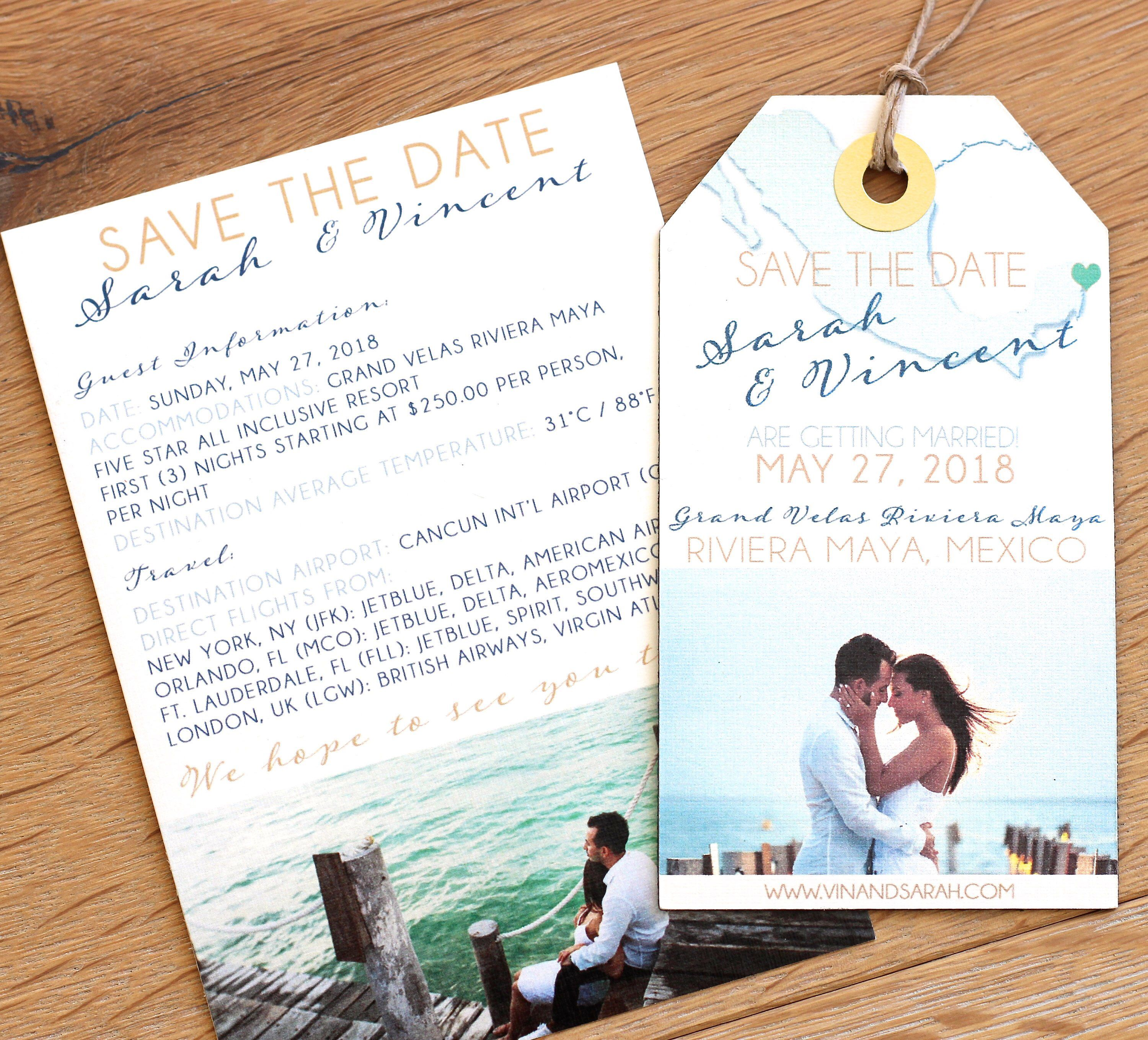 Wedding Invitation Photo And Map Save The Date Luggage Tag Magnet