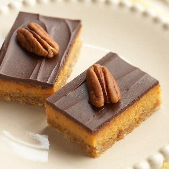 Pumpkin Cheesecake Bars with Chocolate Topping