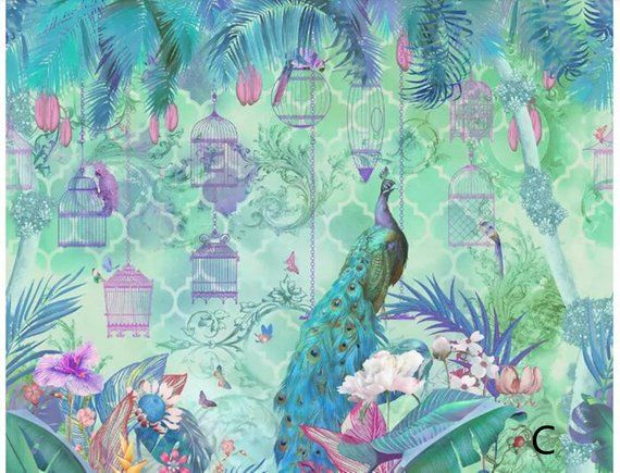Chinoiserie Abstract Shabby Mural Big Peacock Wallpaper