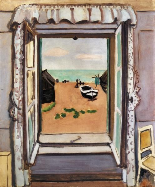 Open Window, Etretat Henri Matisse Date: 1920 Style: Post-Impressionism Genre: landscape Media: oil, canvas Dimensions: 60 x 72.5 cm Location: Private Collection Tags: doors-and-windows, Normandy