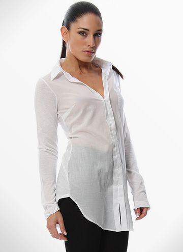 Only $30! SPLENDID Womens Gorgeous White Sheer Long Sleeve Flattering Tunic Length Shirt L #shopmodo #modoboutique