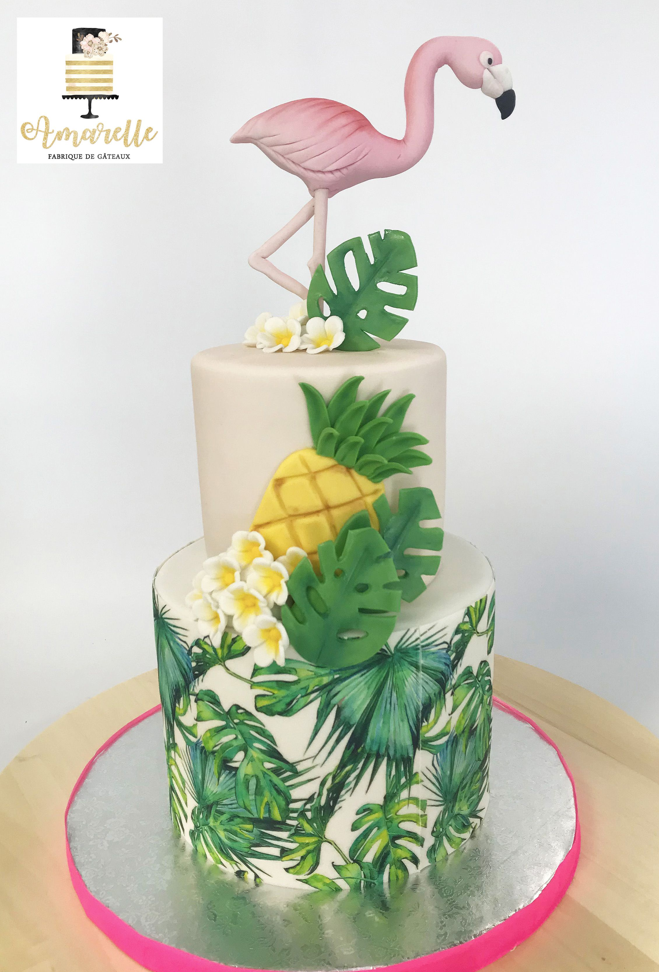 gâteau exotique tropical flamant rose. topical cake pink flamingo