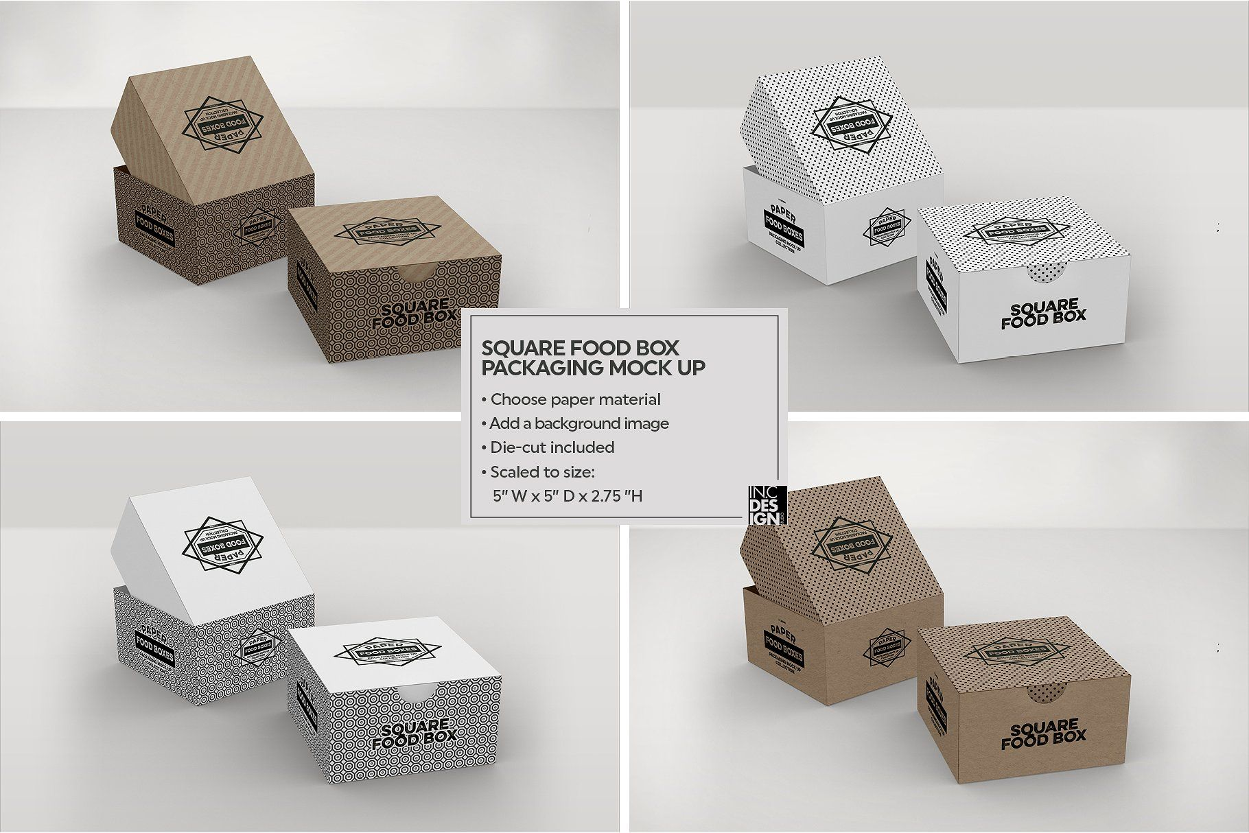 Download Square Fold Out Box Packaging Mockup Food Box Packaging Box Packaging Free Packaging Mockup