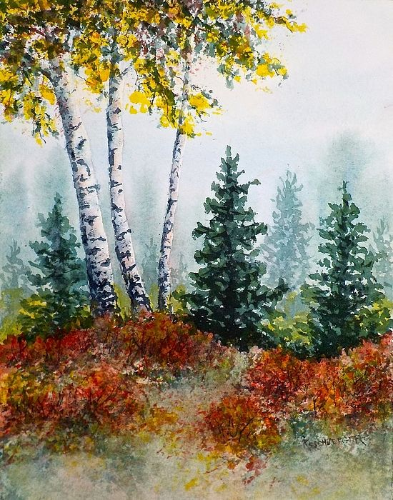 Autumn Birch Fall Canvas Painting Fall Tree Painting