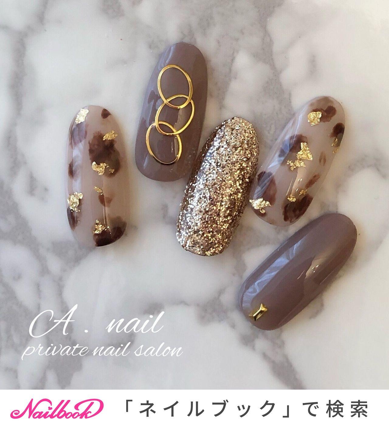 秋/オールシーズン/ハンド/ラメ/アニマル柄 – A . nail ~private nailsalon ~のネイルデザイン[No.4561031]|ネイルブック